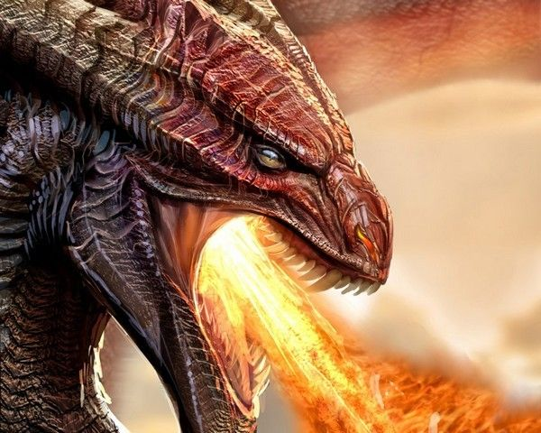 dragon rouge crachant du feu