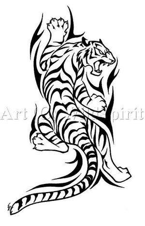 White Tribal Tiger Tattoo